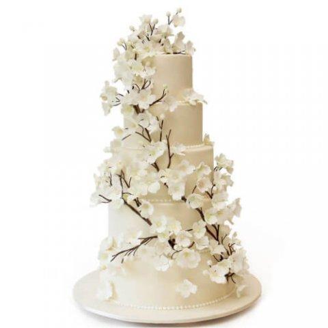 کیک عروسی شکوفه بهاری