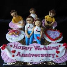کیک جشن ازدواج طرح خانواده